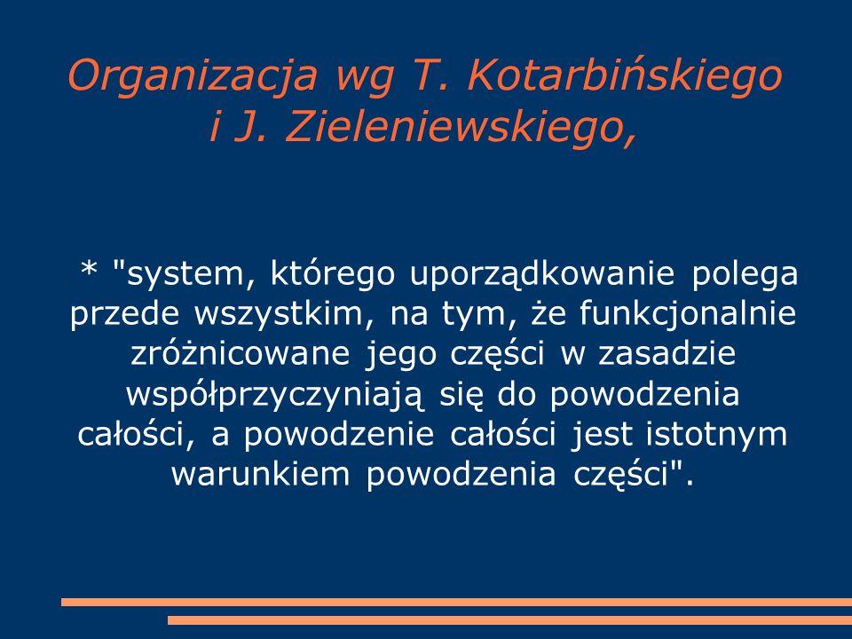 Organizacja wg T. Kotarbińskiego i J. Zieleniewskiego,