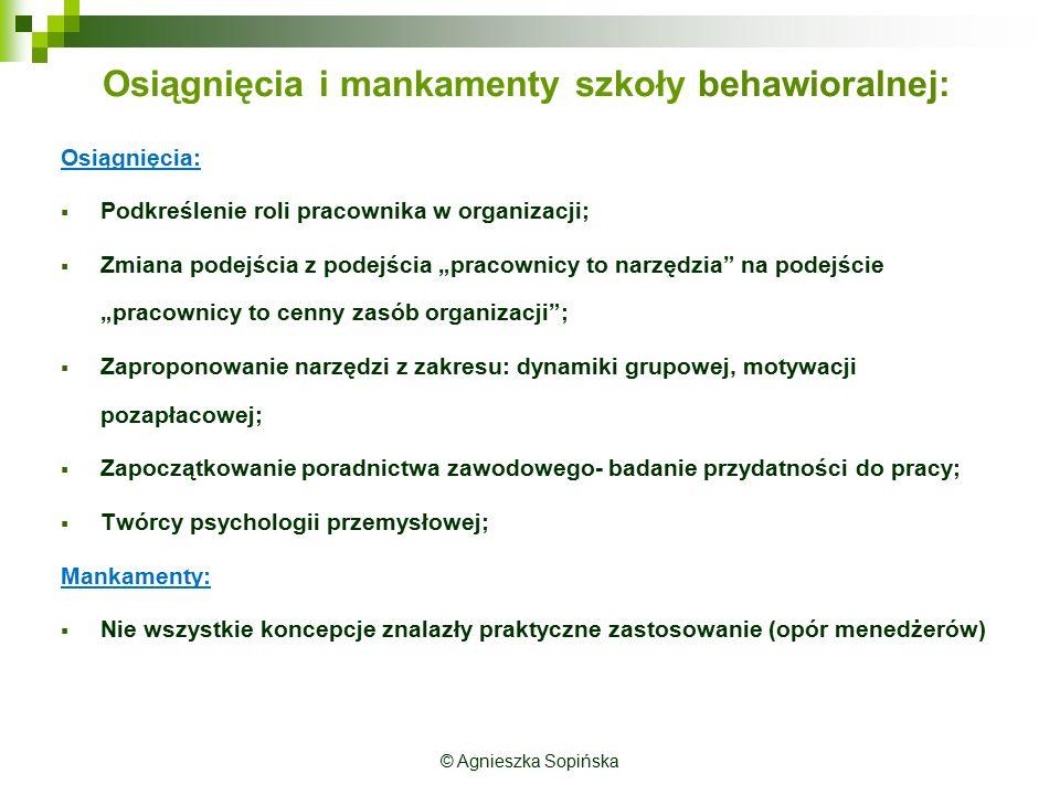 Osiągnięcia i mankamenty szkoły behawioralnej:
