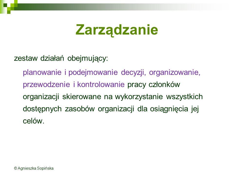 Zarządzanie zestaw działań obejmujący: