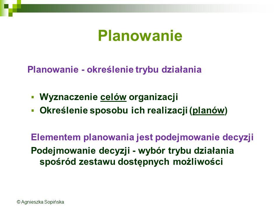 Planowanie Planowanie - określenie trybu działania