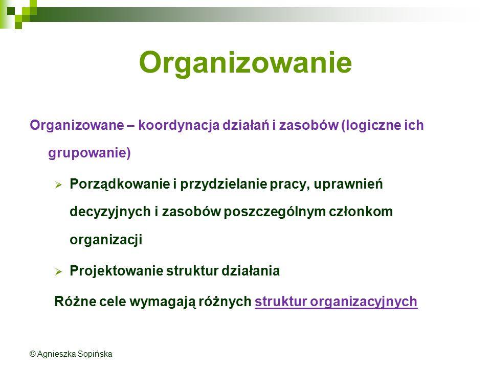Organizowanie Organizowane – koordynacja działań i zasobów (logiczne ich grupowanie)