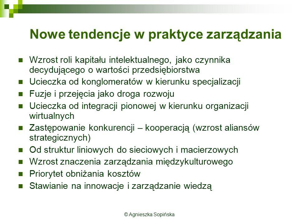 Nowe tendencje w praktyce zarządzania