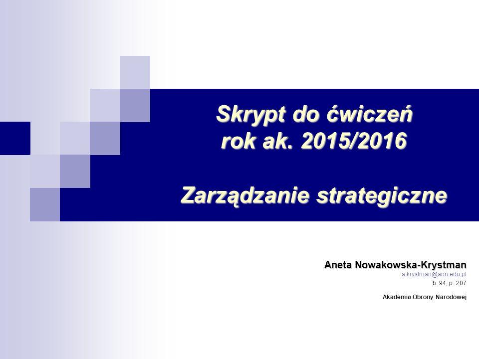 Skrypt do ćwiczeń rok ak. 2015/2016 Zarządzanie strategiczne