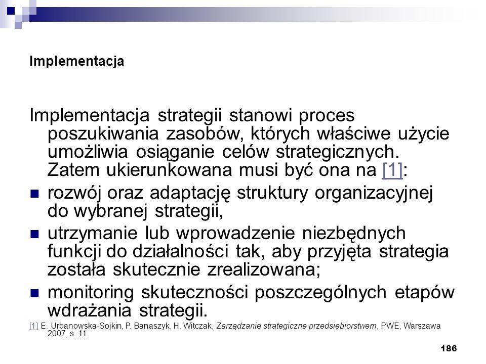 rozwój oraz adaptację struktury organizacyjnej do wybranej strategii,