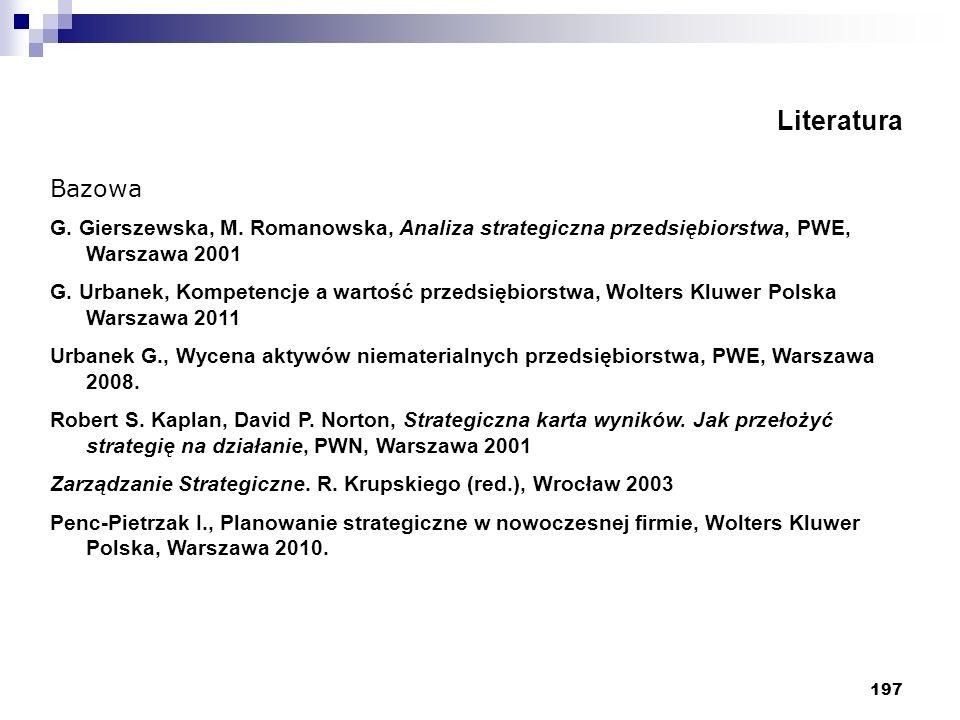 Literatura Bazowa. G. Gierszewska, M. Romanowska, Analiza strategiczna przedsiębiorstwa, PWE, Warszawa 2001.