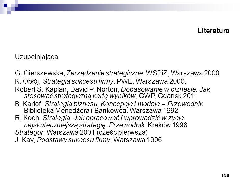 Literatura Uzupełniająca. G. Gierszewska, Zarządzanie strategiczne. WSPiZ, Warszawa 2000. K. Obłój, Strategia sukcesu firmy, PWE, Warszawa 2000.