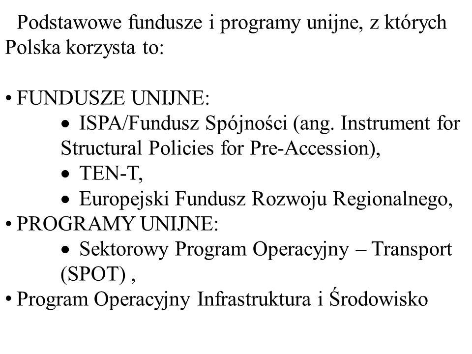 Podstawowe fundusze i programy unijne, z których Polska korzysta to:
