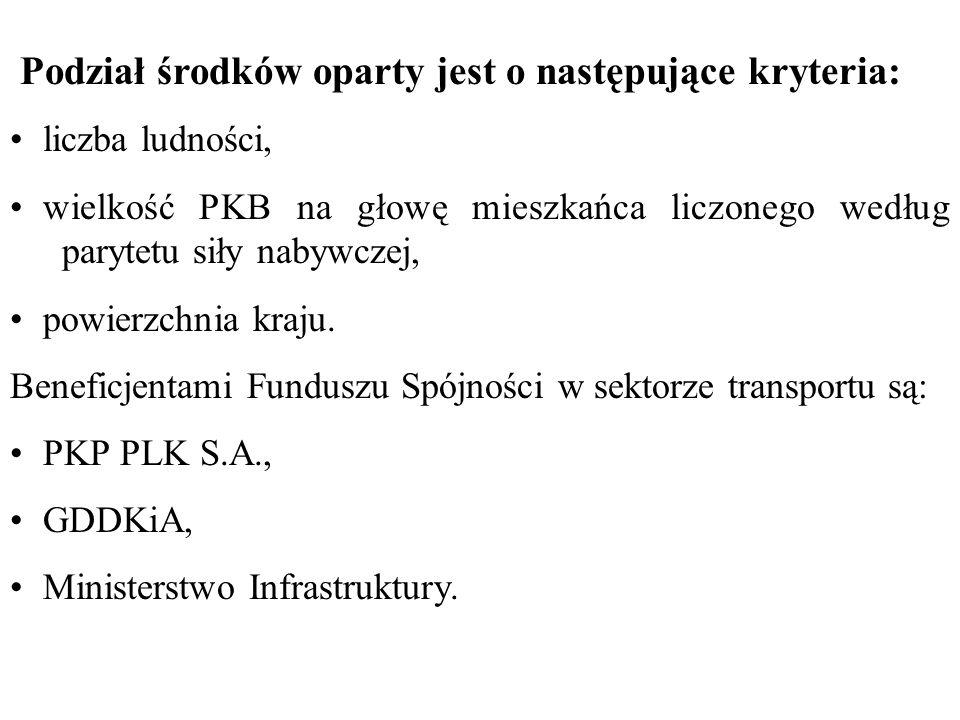 Podział środków oparty jest o następujące kryteria: