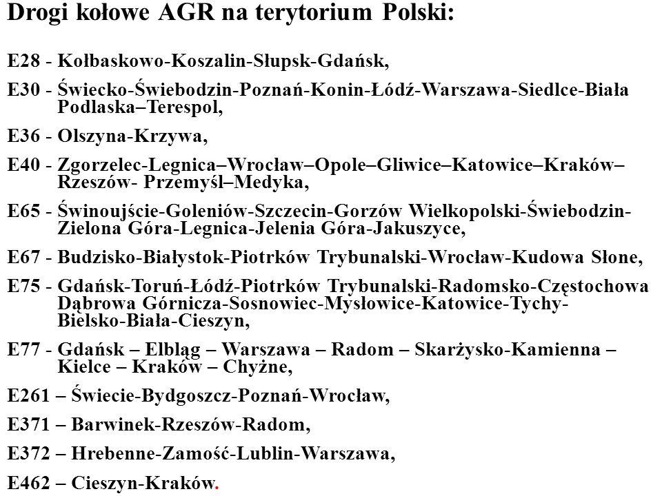 Drogi kołowe AGR na terytorium Polski: