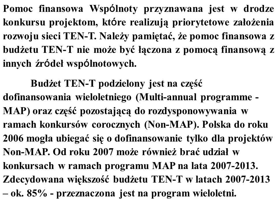 Pomoc finansowa Wspólnoty przyznawana jest w drodze konkursu projektom, które realizują priorytetowe założenia rozwoju sieci TEN-T. Należy pamiętać, że pomoc finansowa z budżetu TEN-T nie może być łączona z pomocą finansową z innych źródeł wspólnotowych.