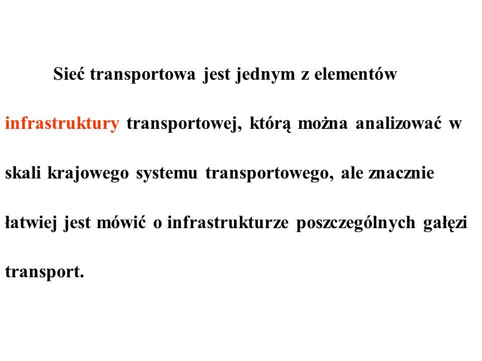 Sieć transportowa jest jednym z elementów infrastruktury transportowej, którą można analizować w skali krajowego systemu transportowego, ale znacznie łatwiej jest mówić o infrastrukturze poszczególnych gałęzi transport.