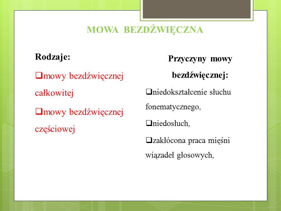 Przyczyny mowy bezdźwięcznej: