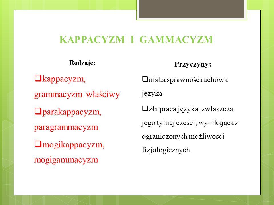 KAPPACYZM I GAMMACYZM kappacyzm, grammacyzm właściwy