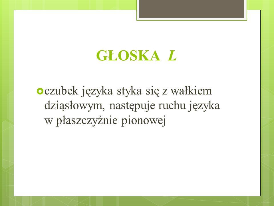 GŁOSKA L czubek języka styka się z wałkiem dziąsłowym, następuje ruchu języka w płaszczyźnie pionowej.