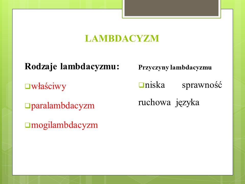 LAMBDACYZM Rodzaje lambdacyzmu: właściwy