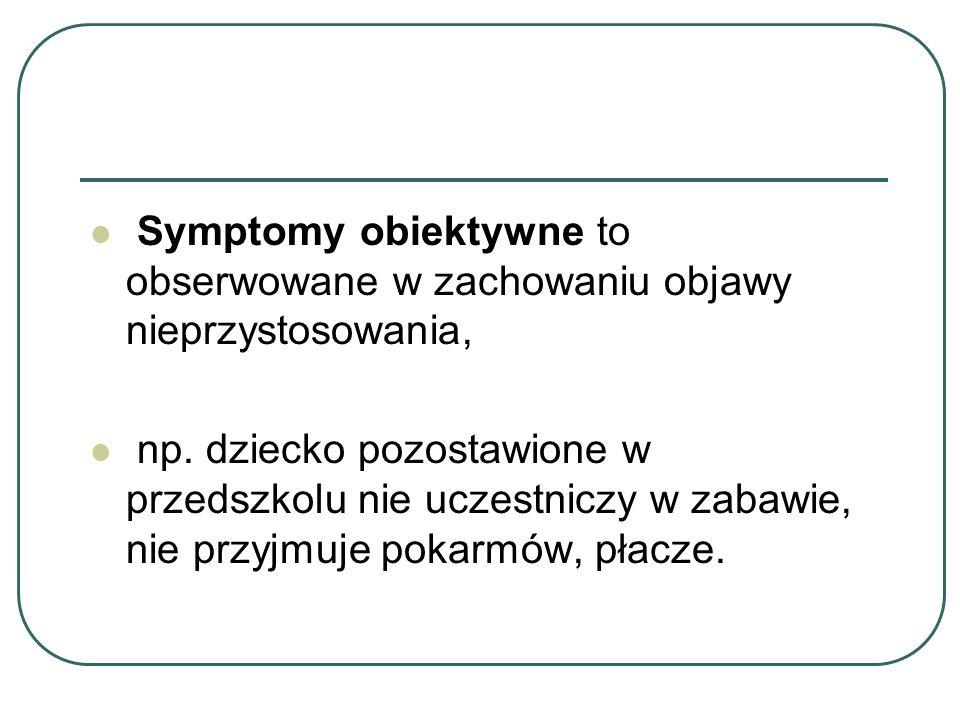 Symptomy obiektywne to obserwowane w zachowaniu objawy nieprzystosowania,