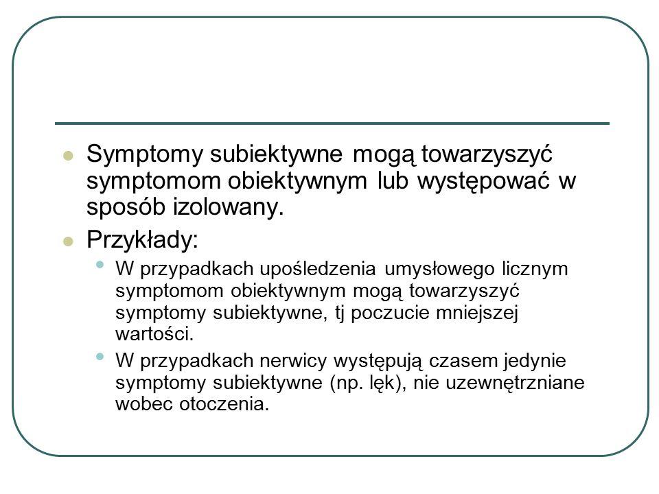 Symptomy subiektywne mogą towarzyszyć symptomom obiektywnym lub występować w sposób izolowany.