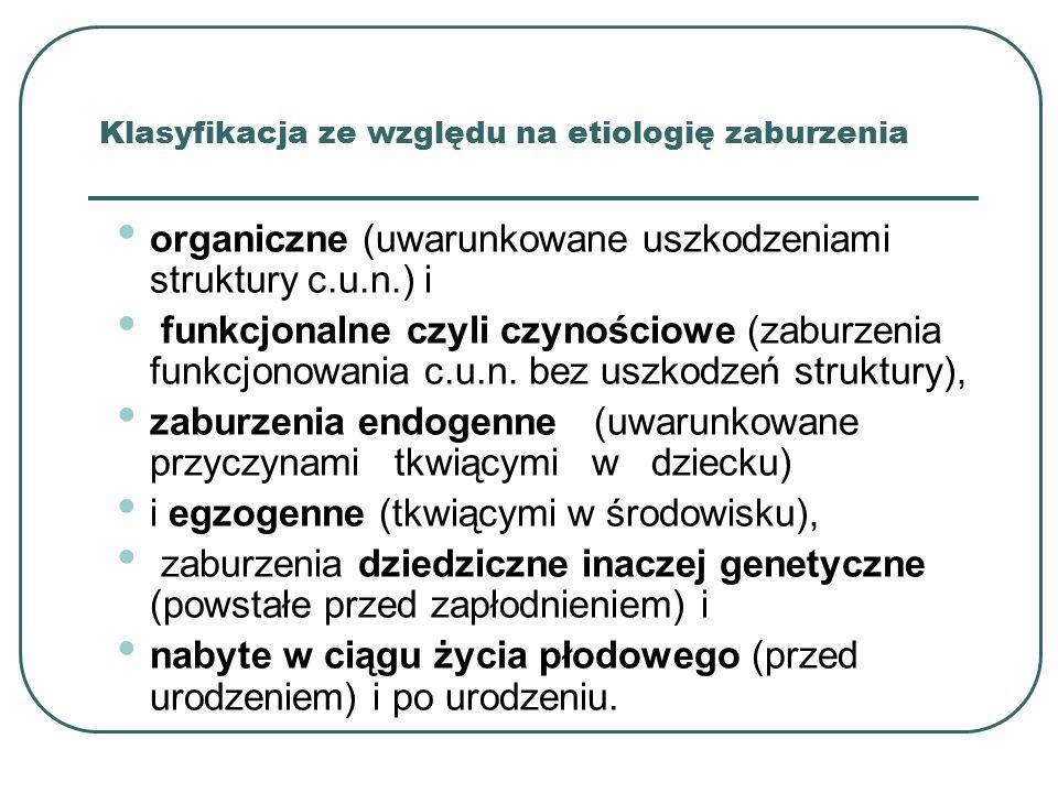 Klasyfikacja ze względu na etiologię zaburzenia