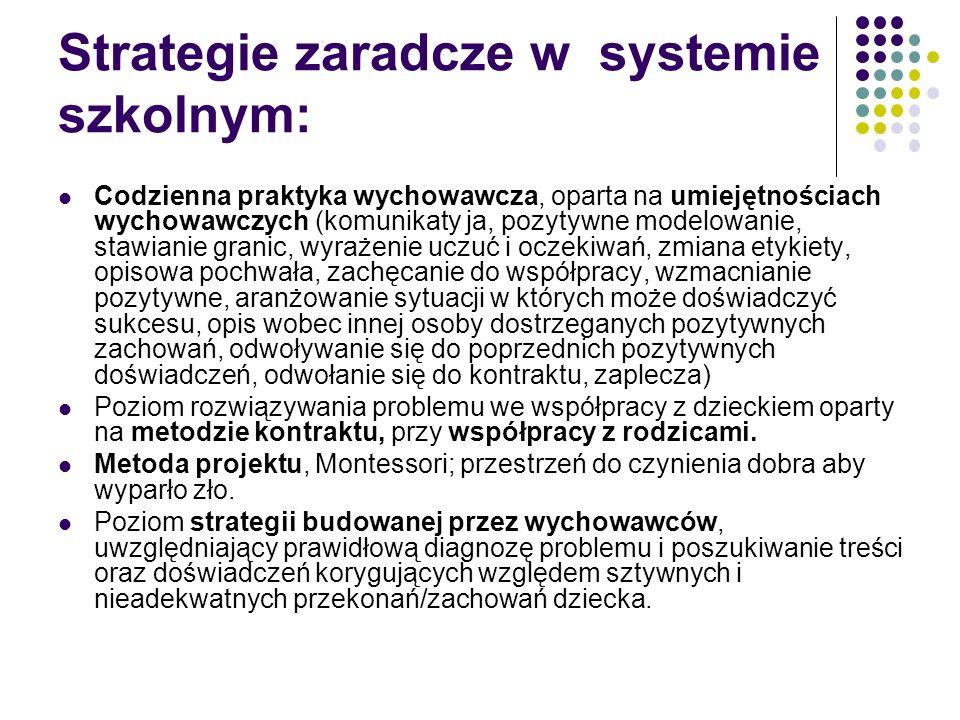 Strategie zaradcze w systemie szkolnym: