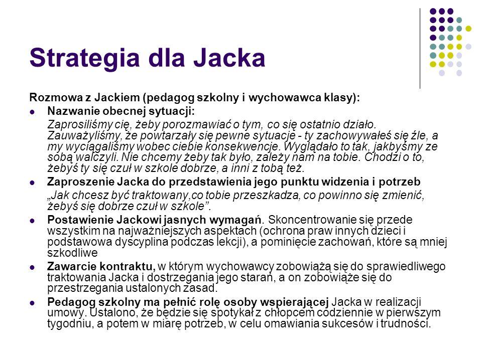 Strategia dla Jacka Rozmowa z Jackiem (pedagog szkolny i wychowawca klasy): Nazwanie obecnej sytuacji: