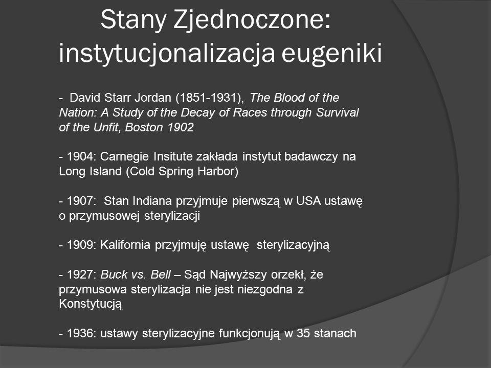 Stany Zjednoczone: instytucjonalizacja eugeniki