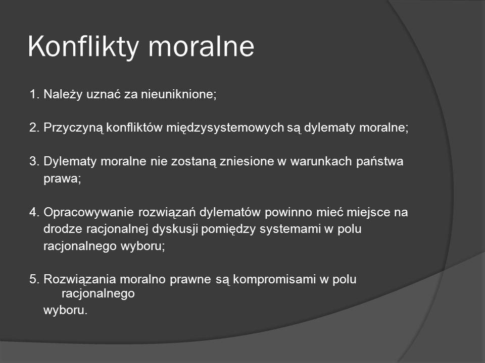 Konflikty moralne 1. Należy uznać za nieuniknione;
