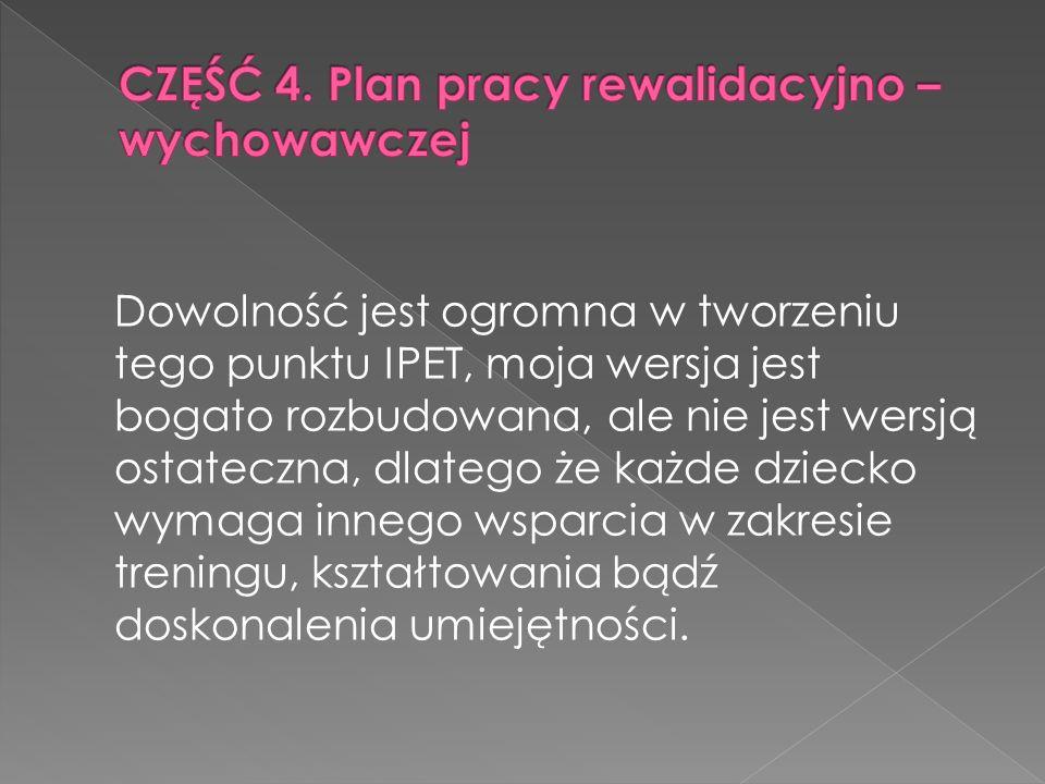 CZĘŚĆ 4. Plan pracy rewalidacyjno – wychowawczej