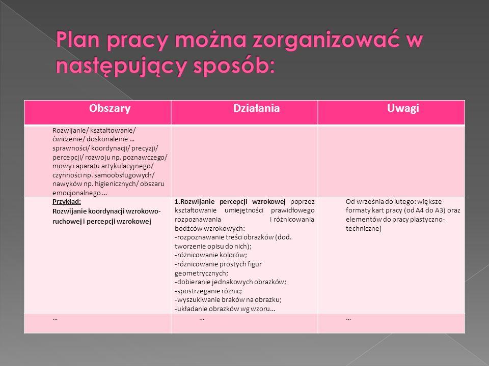 Plan pracy można zorganizować w następujący sposób:
