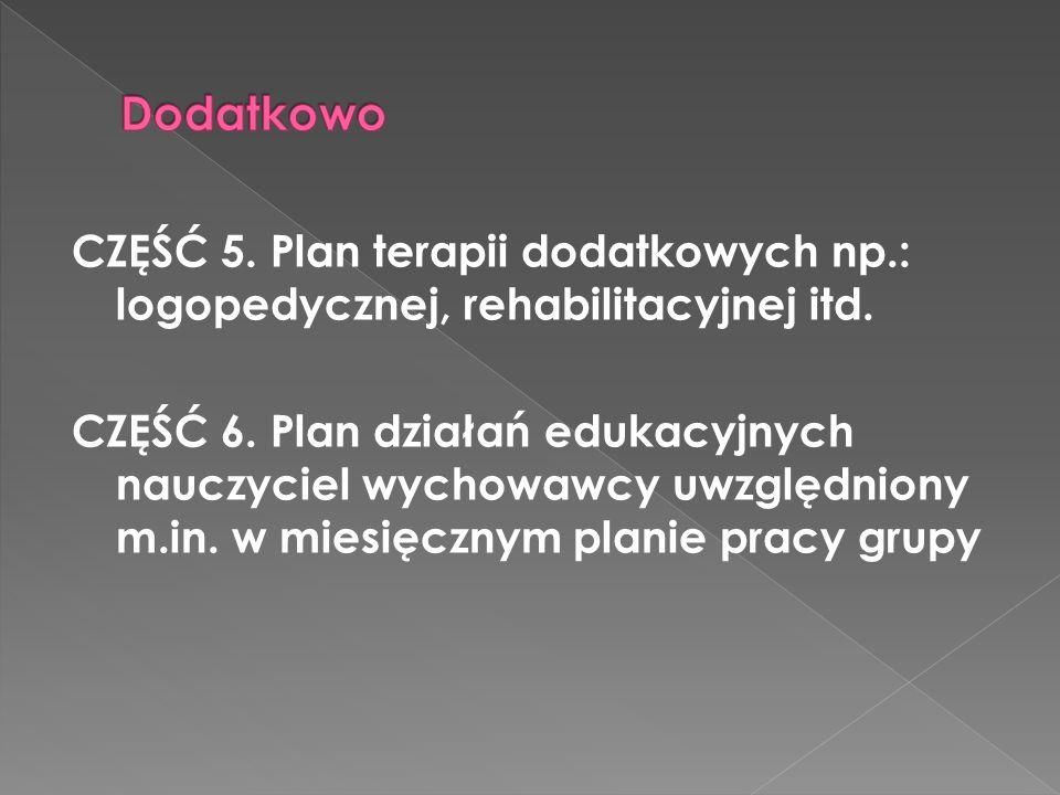 Dodatkowo CZĘŚĆ 5. Plan terapii dodatkowych np.: logopedycznej, rehabilitacyjnej itd.