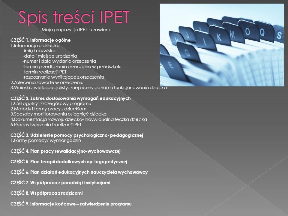 Spis treści IPET