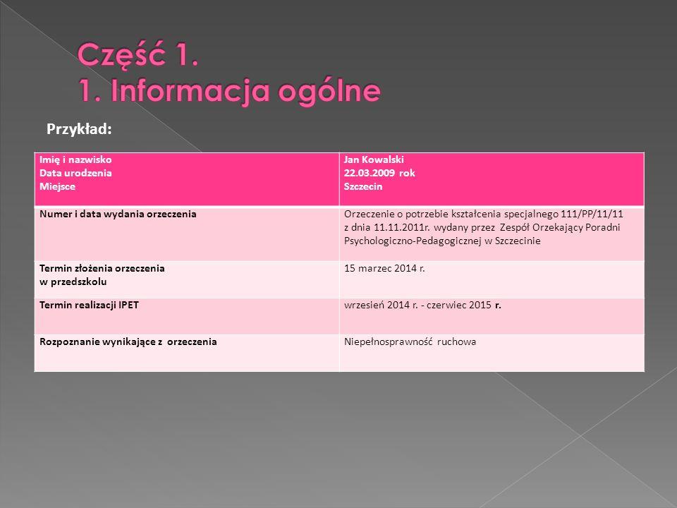 Część 1. 1. Informacja ogólne