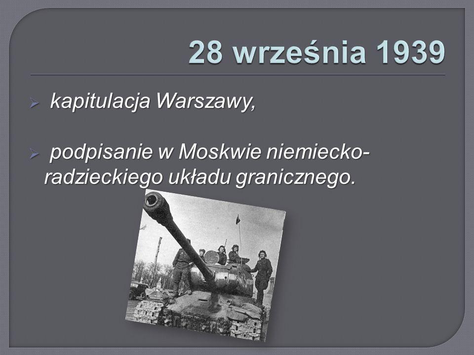 28 września 1939 kapitulacja Warszawy,