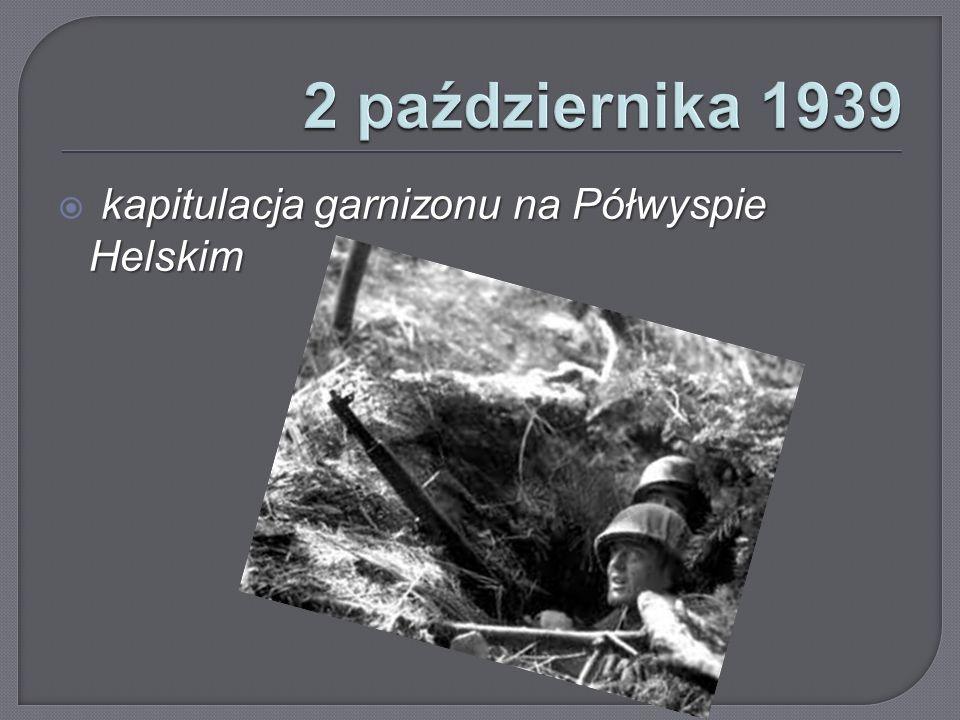 2 października 1939 kapitulacja garnizonu na Półwyspie Helskim