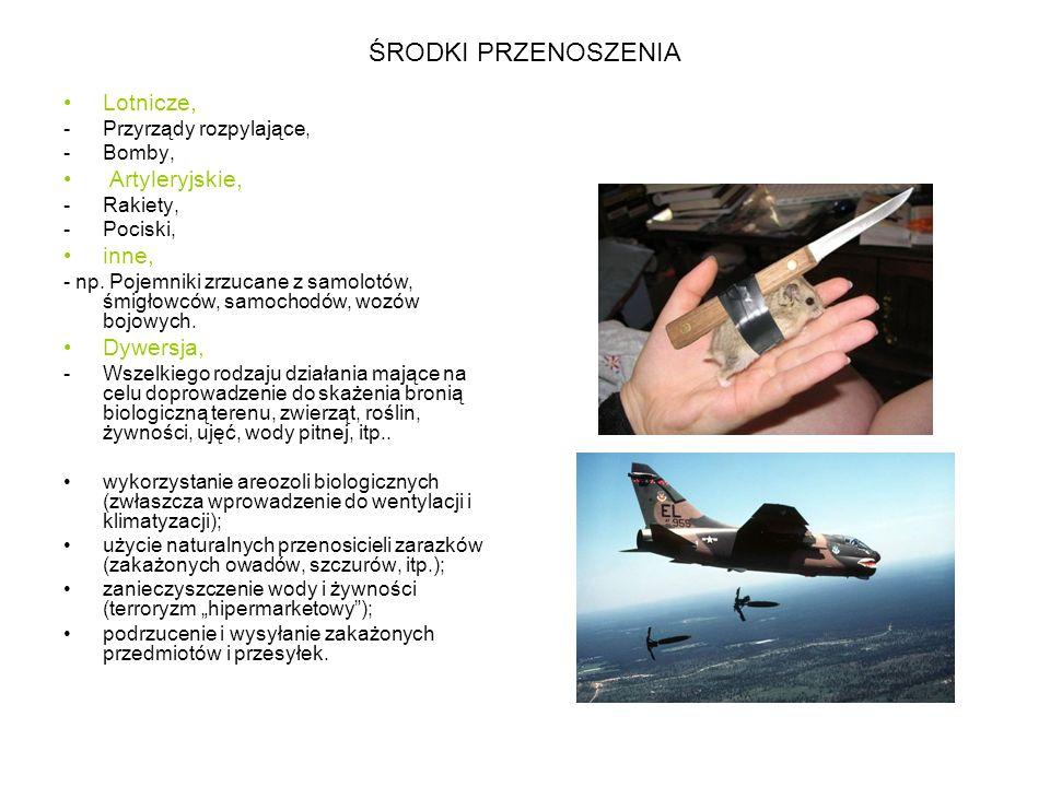 ŚRODKI PRZENOSZENIA Lotnicze, Artyleryjskie, inne, Dywersja,