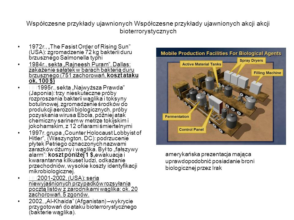 Współczesne przykłady ujawnionych Współczesne przykłady ujawnionych akcji akcji bioterrorystycznych