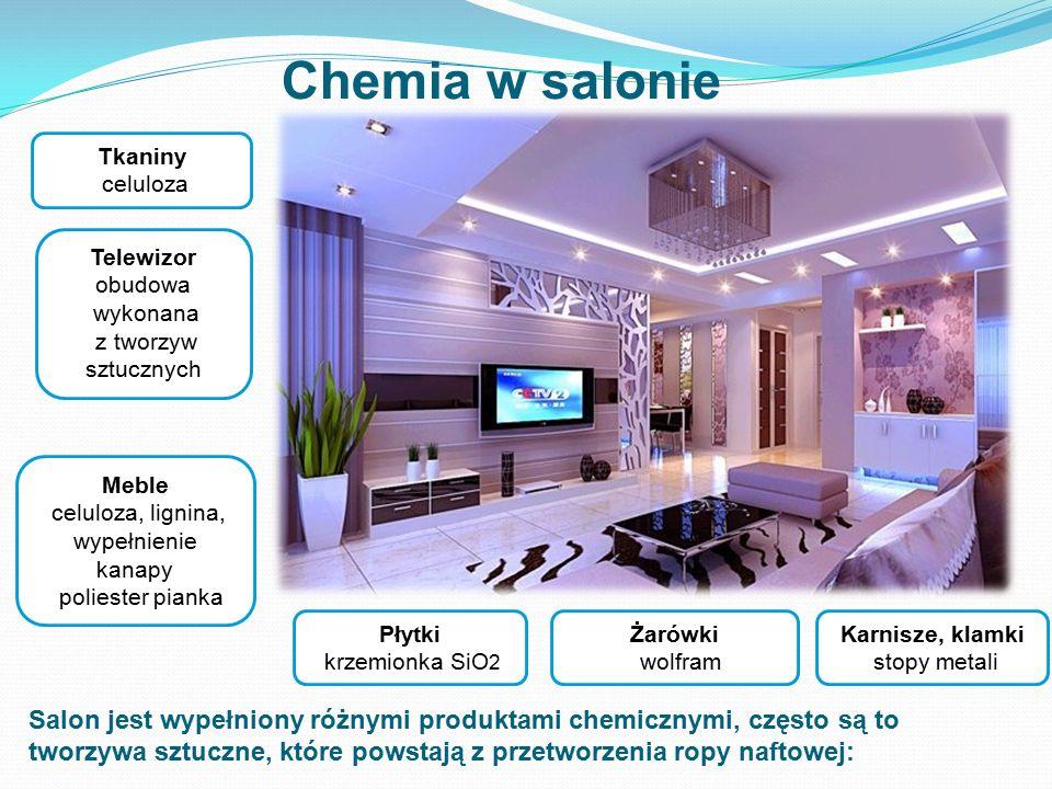 Chemia w salonie Tkaniny celuloza. Telewizor obudowa. wykonana z tworzyw sztucznych. Meble. celuloza, lignina,