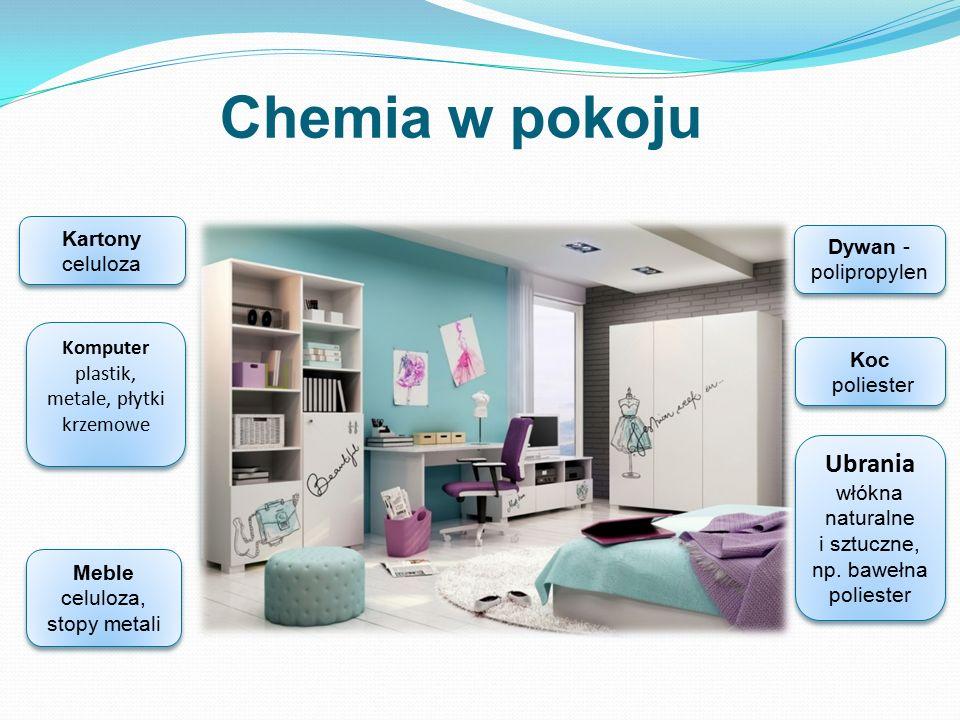 Chemia w pokoju Kartony celuloza. Dywan - polipropylen. - Komputer plastik, metale, płytki krzemowe.