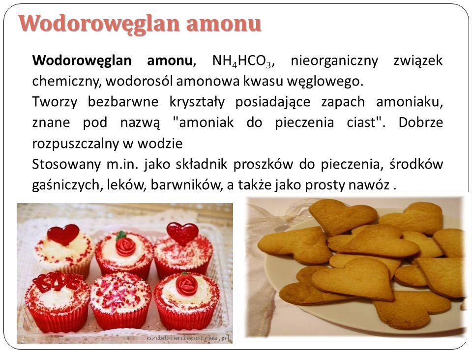 Wodorowęglan amonu Wodorowęglan amonu, NH4HCO3, nieorganiczny związek chemiczny, wodorosól amonowa kwasu węglowego.