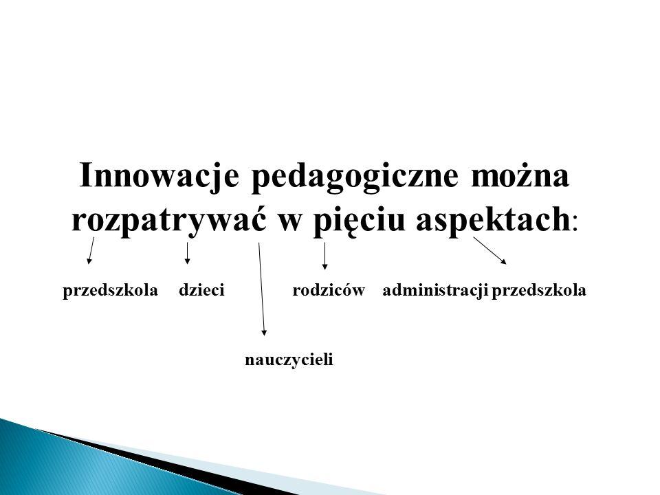 Innowacje pedagogiczne można rozpatrywać w pięciu aspektach: przedszkola dzieci rodziców administracji przedszkola