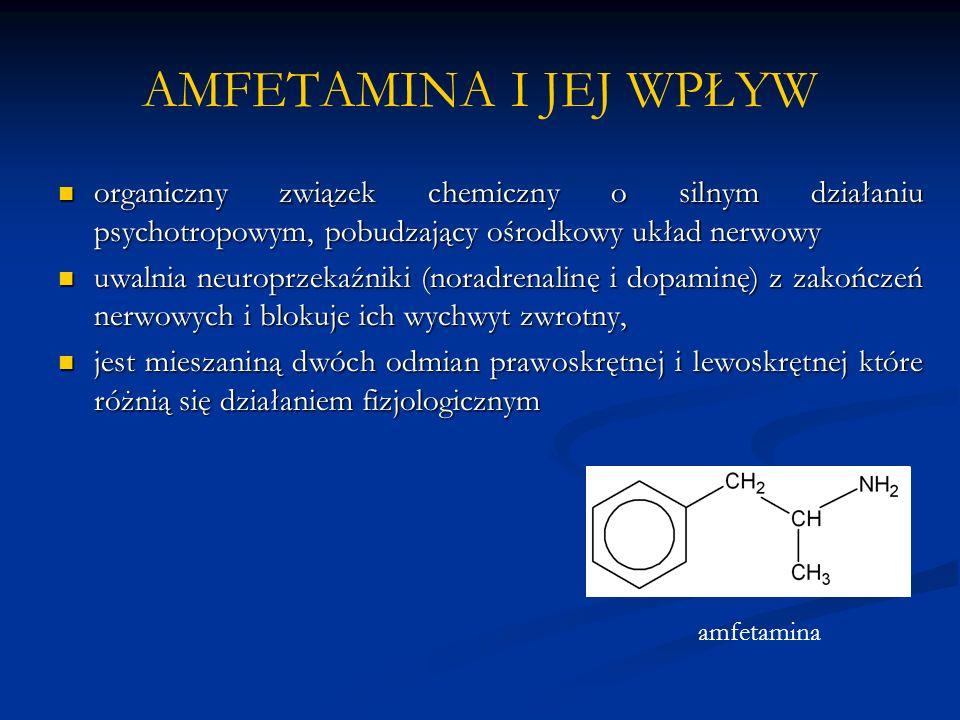 AMFETAMINA I JEJ WPŁYW organiczny związek chemiczny o silnym działaniu psychotropowym, pobudzający ośrodkowy układ nerwowy.