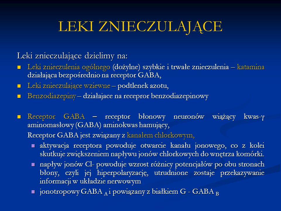 LEKI ZNIECZULAJĄCE Leki znieczulające dzielimy na: