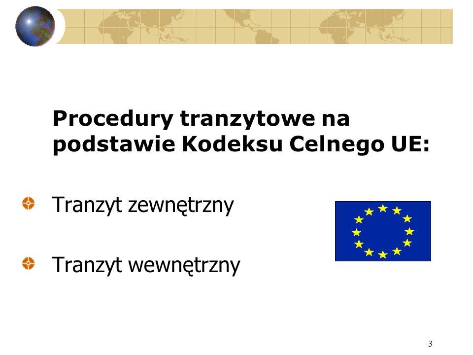 Procedury tranzytowe na podstawie Kodeksu Celnego UE: