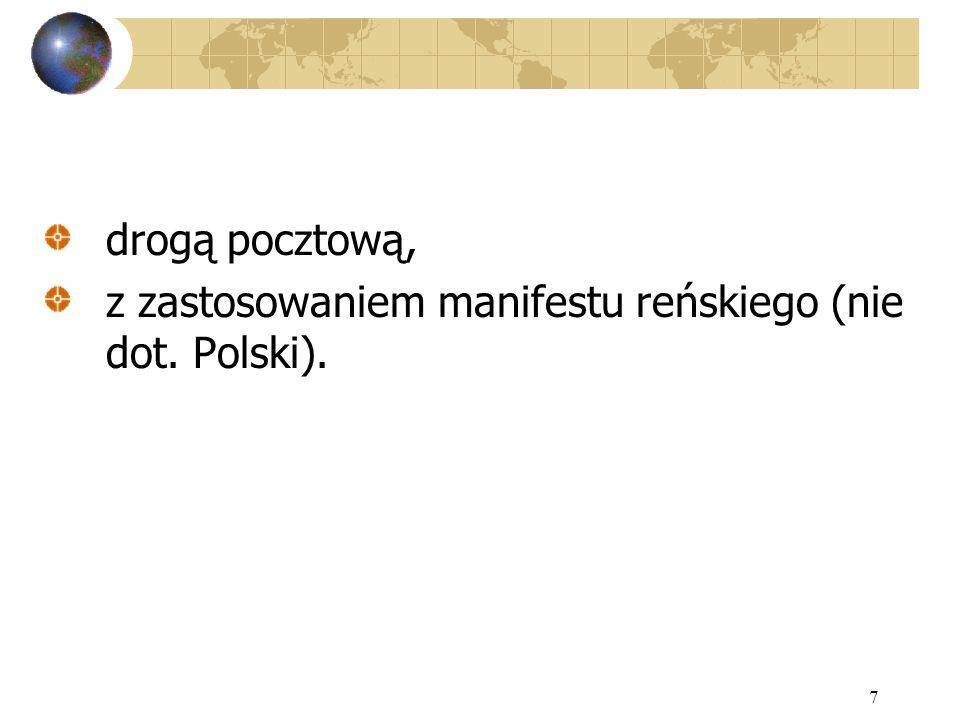 drogą pocztową, z zastosowaniem manifestu reńskiego (nie dot. Polski).