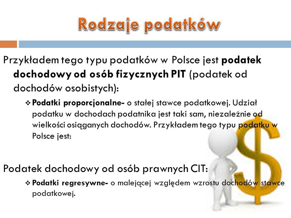 Rodzaje podatków Przykładem tego typu podatków w Polsce jest podatek dochodowy od osób fizycznych PIT (podatek od dochodów osobistych):