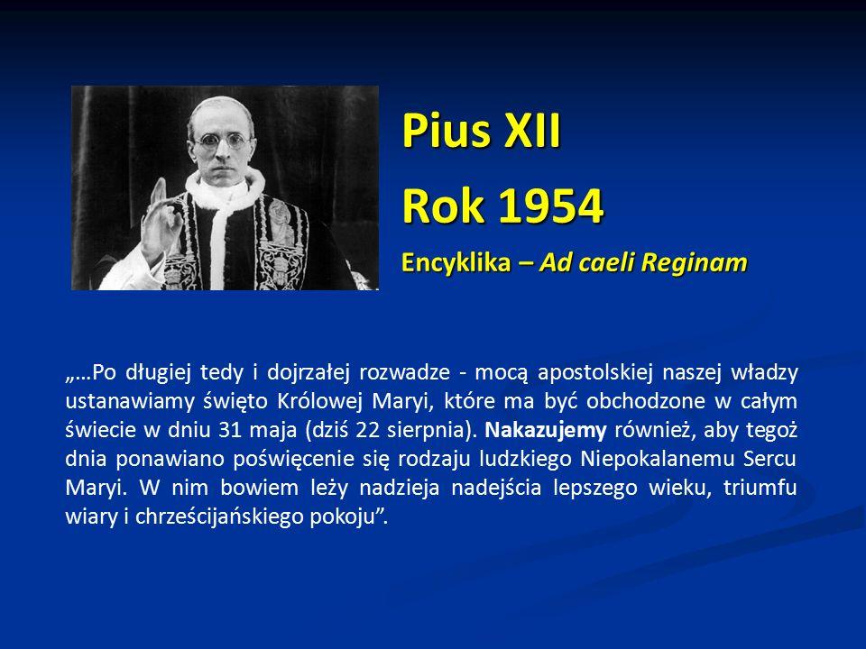 Pius XII Rok 1954 Encyklika – Ad caeli Reginam