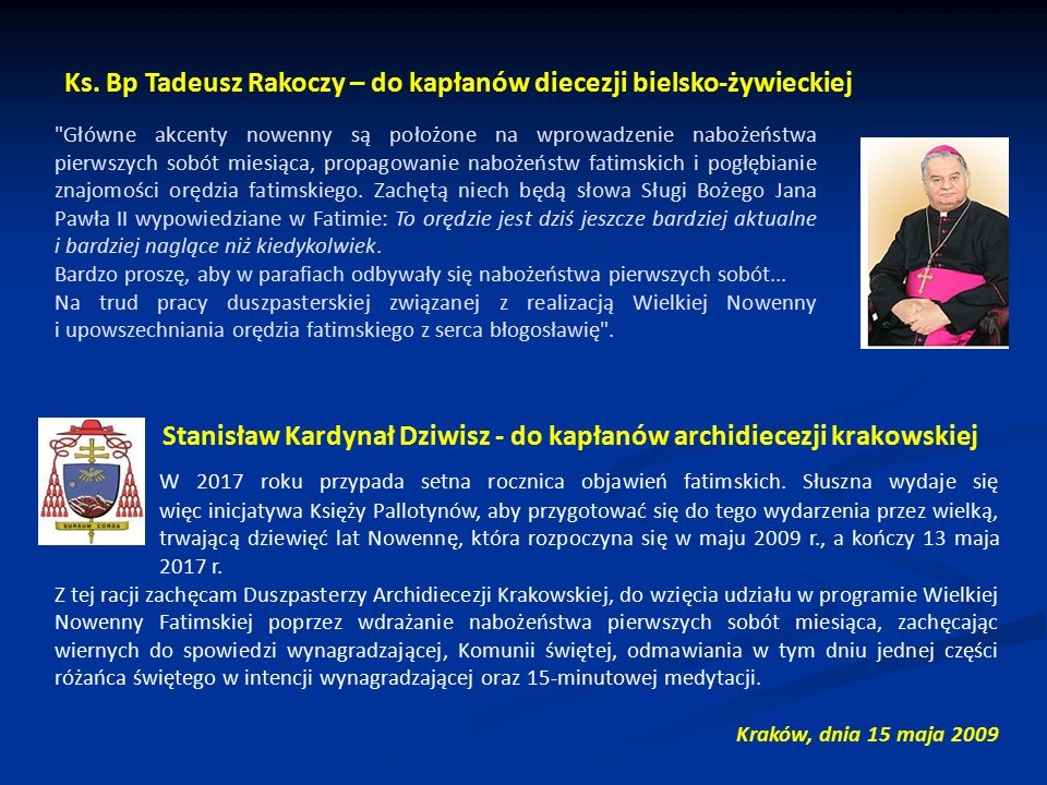 Stanisław Kardynał Dziwisz - do kapłanów archidiecezji krakowskiej
