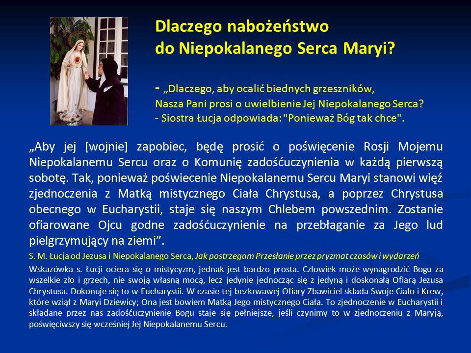 Dlaczego nabożeństwo do Niepokalanego Serca Maryi