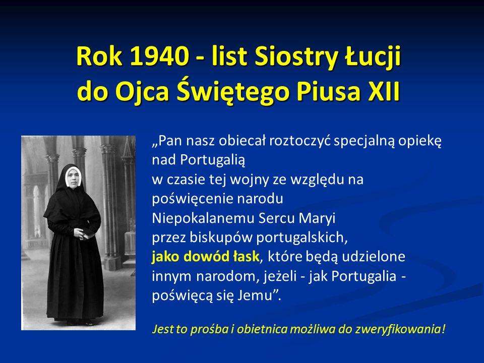 Rok 1940 - list Siostry Łucji do Ojca Świętego Piusa XII