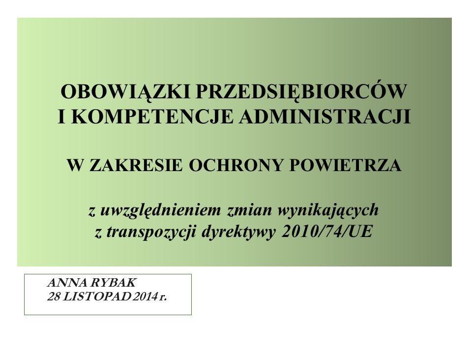 OBOWIĄZKI PRZEDSIĘBIORCÓW I KOMPETENCJE ADMINISTRACJI W ZAKRESIE OCHRONY POWIETRZA z uwzględnieniem zmian wynikających z transpozycji dyrektywy 2010/74/UE