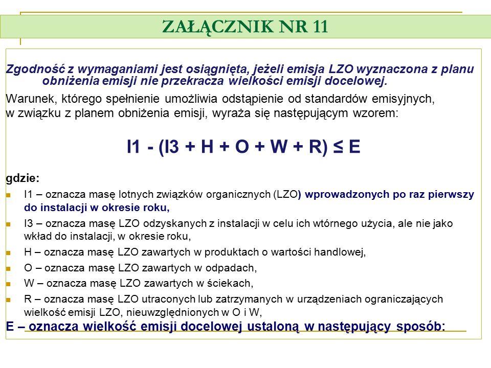 ZAŁĄCZNIK NR 11 I1 - (I3 + H + O + W + R) ≤ E